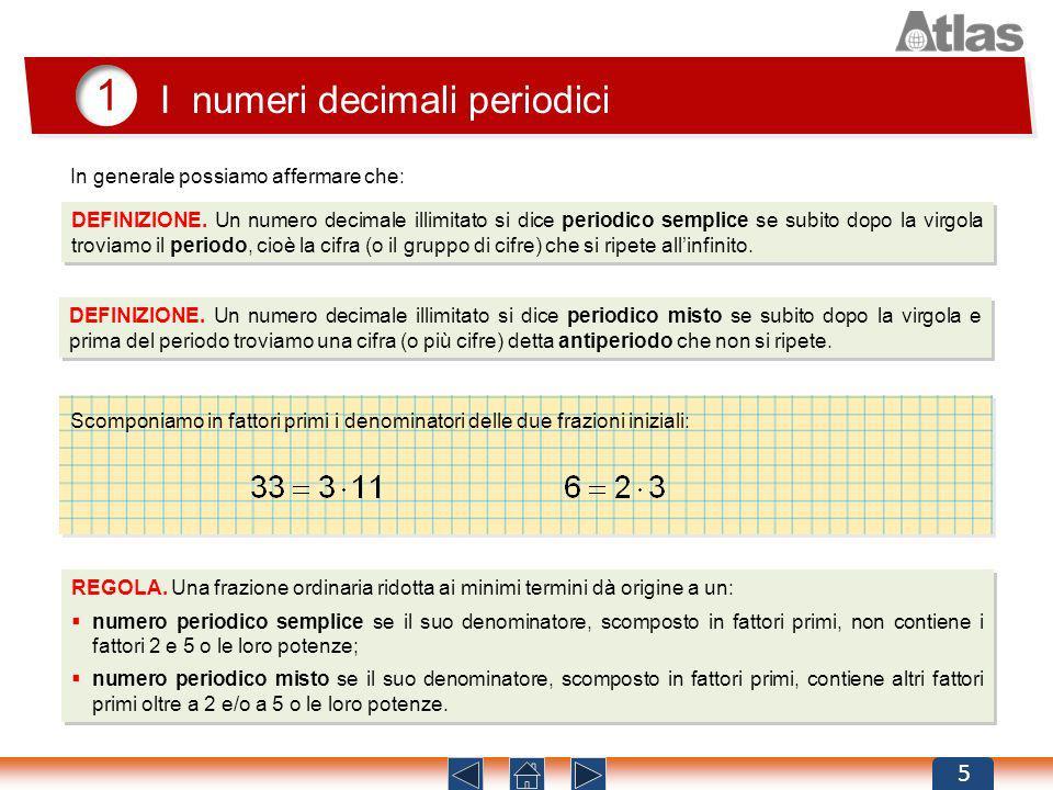 1 I numeri decimali periodici 5 DEFINIZIONE. Un numero decimale illimitato si dice periodico semplice se subito dopo la virgola troviamo il periodo, c