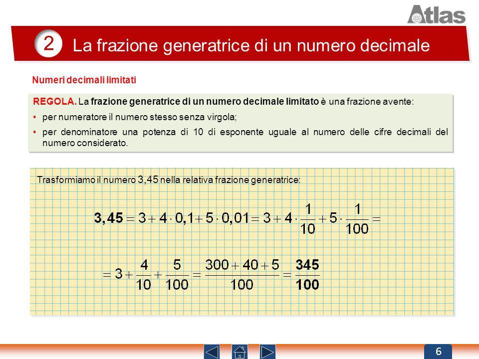 2 La frazione generatrice di un numero decimale 6 REGOLA. La frazione generatrice di un numero decimale limitato è una frazione avente: per numeratore
