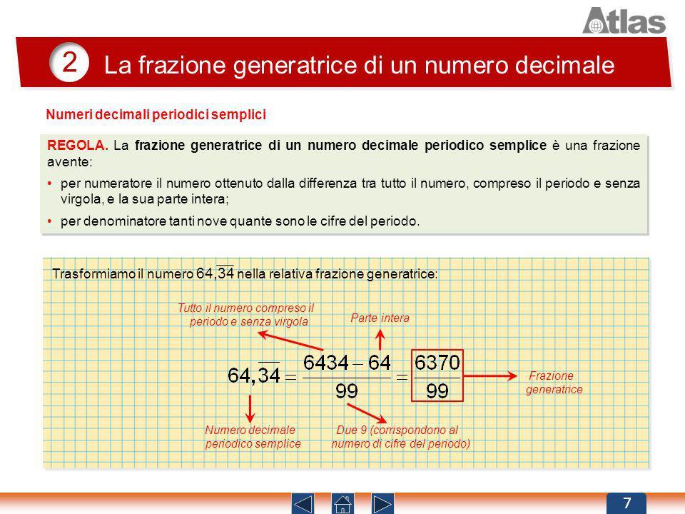 2 La frazione generatrice di un numero decimale 7 REGOLA. La frazione generatrice di un numero decimale periodico semplice è una frazione avente: per