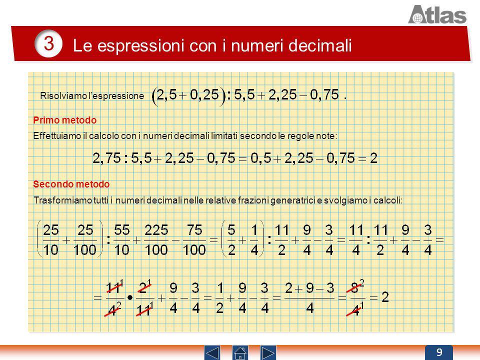 3 Le espressioni con i numeri decimali 9 Primo metodo Effettuiamo il calcolo con i numeri decimali limitati secondo le regole note: Secondo metodo Tra