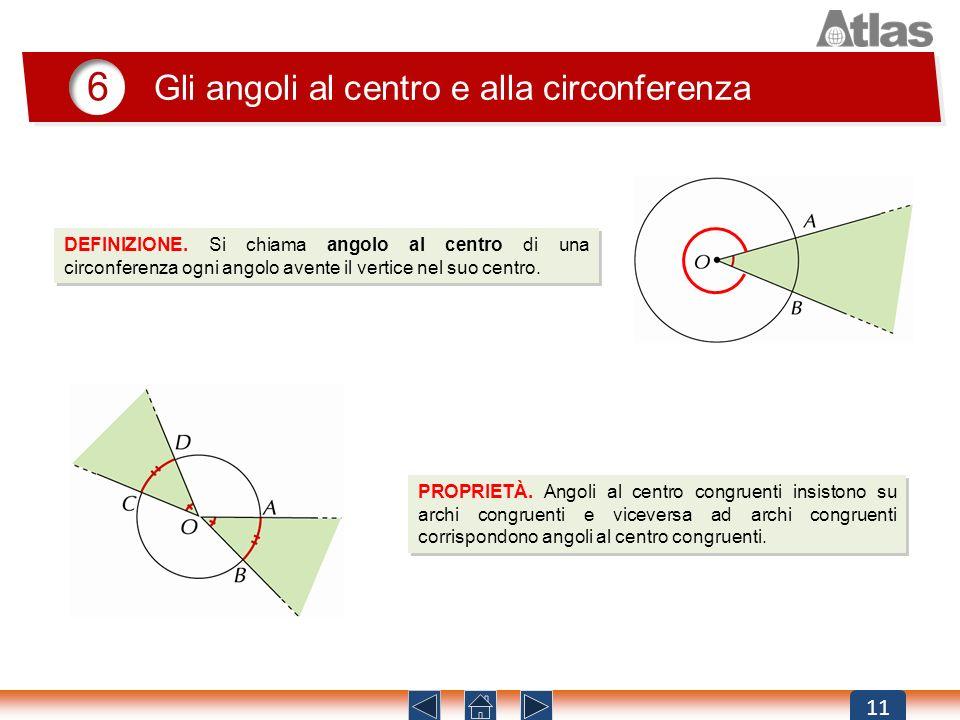 11 6 DEFINIZIONE. Si chiama angolo al centro di una circonferenza ogni angolo avente il vertice nel suo centro. Gli angoli al centro e alla circonfere