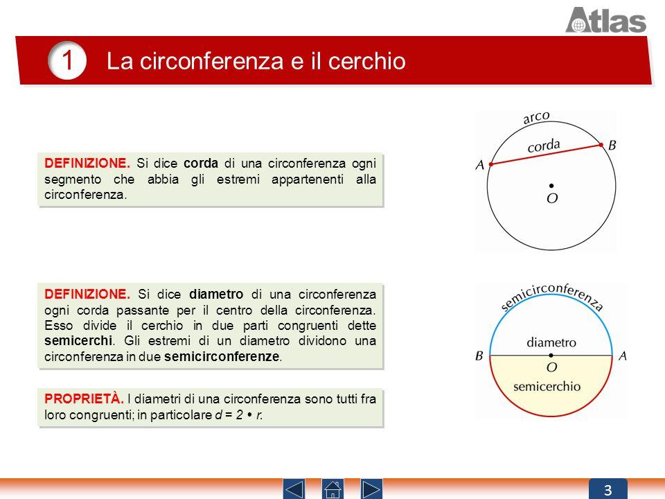 3 DEFINIZIONE. Si dice corda di una circonferenza ogni segmento che abbia gli estremi appartenenti alla circonferenza. 1 La circonferenza e il cerchio