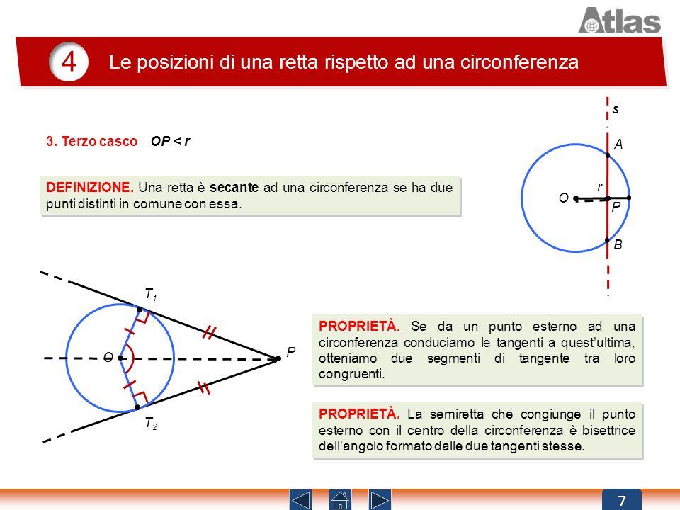 r O s 7 4 Le posizioni di una retta rispetto ad una circonferenza DEFINIZIONE. Una retta è secante ad una circonferenza se ha due punti distinti in co