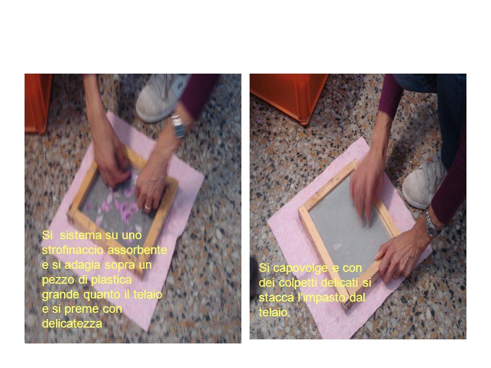 Si sistema su uno strofinaccio assorbente e si adagia sopra un pezzo di plastica grande quanto il telaio e si preme con delicatezza Si capovolge e con