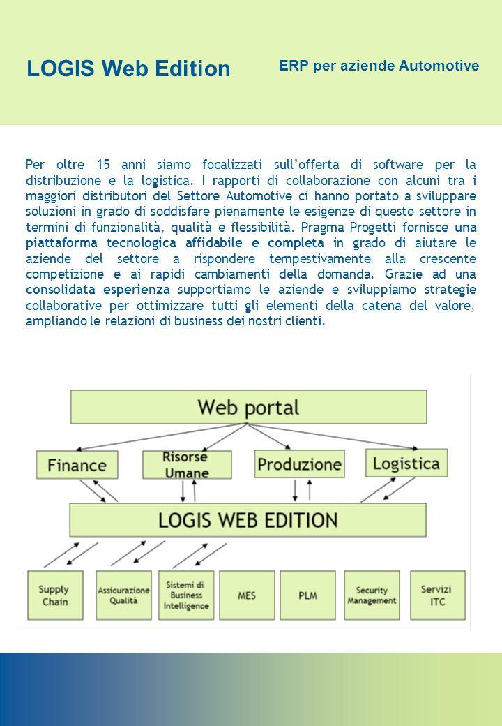 LOGIS Web Edition ERP per aziende Automotive SINTESI INFORMATIVA DEL PRODOTTO Logis Web Edition è un verticale del sistema ACG IBM rivolto alle aziende di produzione che operano nei settori dell Automotive e del Bianco (elettrodomestici).