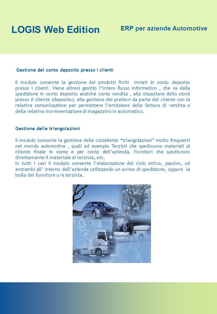 LOGIS Web Edition ERP per aziende Automotive Gestione del conto deposito presso i clienti Il modulo consente la gestione dei prodotti finiti inviati i