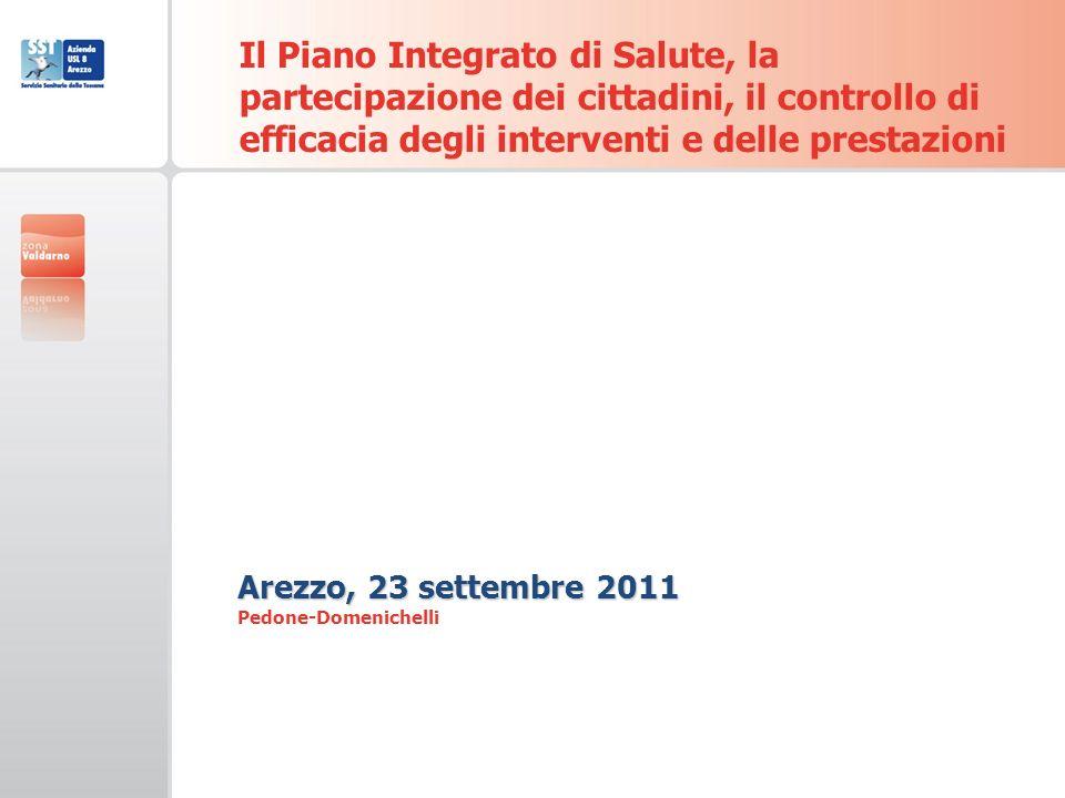 Il Piano Integrato di Salute, la partecipazione dei cittadini, il controllo di efficacia degli interventi e delle prestazioni Arezzo, 23 settembre 2011 Arezzo, 23 settembre 2011 Pedone-Domenichelli