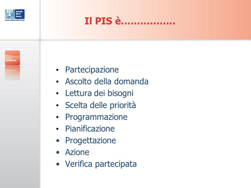 Partecipazione Ascolto della domanda Lettura dei bisogni Scelta delle priorità Programmazione Pianificazione Progettazione Azione Verifica partecipata Il PIS è……………..