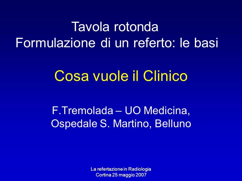La refertazione in Radiologia Cortina 25 maggio 2007 Cosa vuole il Clinico F.Tremolada – UO Medicina, Ospedale S. Martino, Belluno Tavola rotonda Form