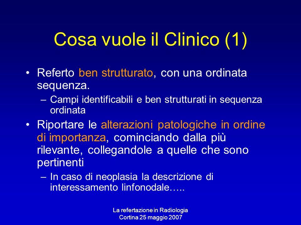 La refertazione in Radiologia Cortina 25 maggio 2007 Cosa vuole il Clinico (1) Referto ben strutturato, con una ordinata sequenza. –Campi identificabi
