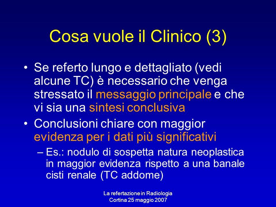 La refertazione in Radiologia Cortina 25 maggio 2007 Cosa vuole il Clinico (3) Se referto lungo e dettagliato (vedi alcune TC) è necessario che venga