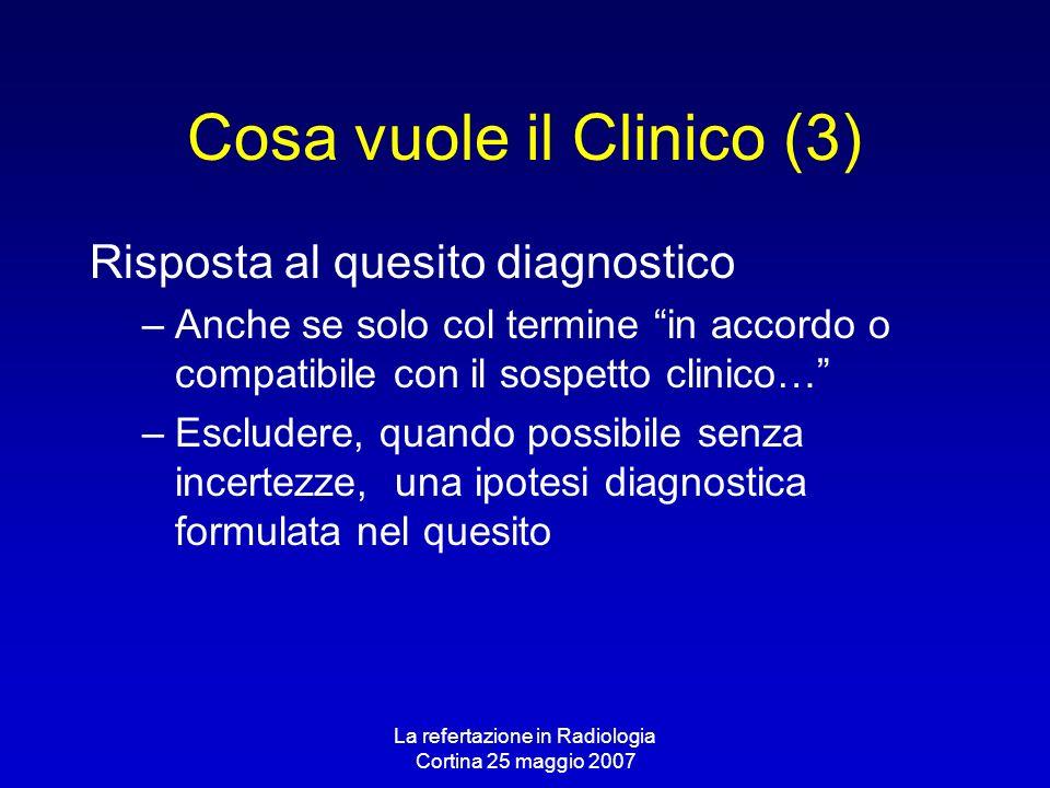 La refertazione in Radiologia Cortina 25 maggio 2007 Cosa vuole il Clinico (3) Risposta al quesito diagnostico –Anche se solo col termine in accordo o