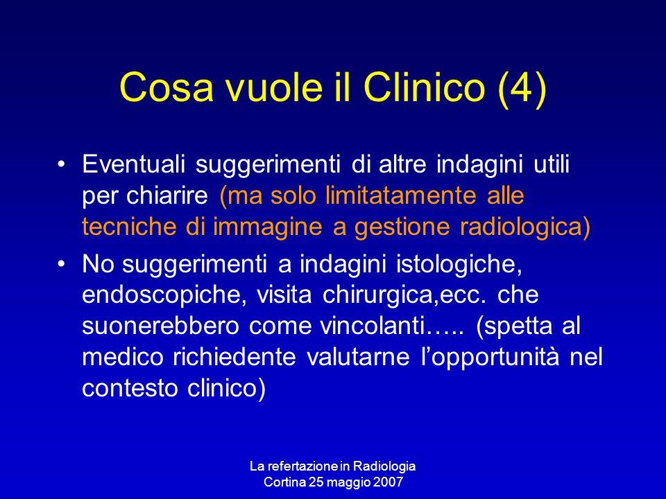 La refertazione in Radiologia Cortina 25 maggio 2007 Cosa vuole il Clinico (4) Eventuali suggerimenti di altre indagini utili per chiarire (ma solo li