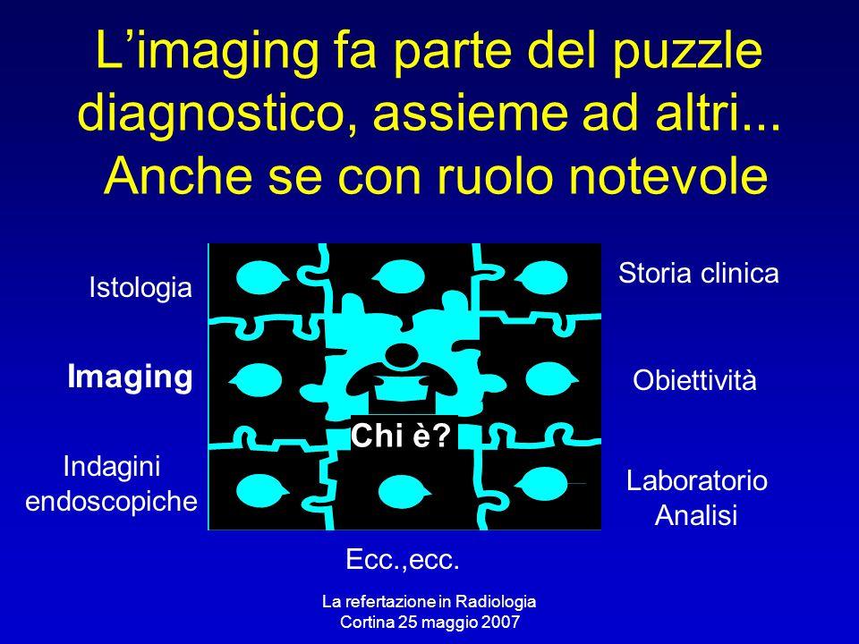 La refertazione in Radiologia Cortina 25 maggio 2007 Limaging fa parte del puzzle diagnostico, assieme ad altri... Anche se con ruolo notevole Imaging