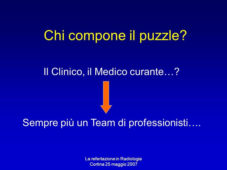 La refertazione in Radiologia Cortina 25 maggio 2007 Chi compone il puzzle? Il Clinico, il Medico curante…? Sempre più un Team di professionisti….