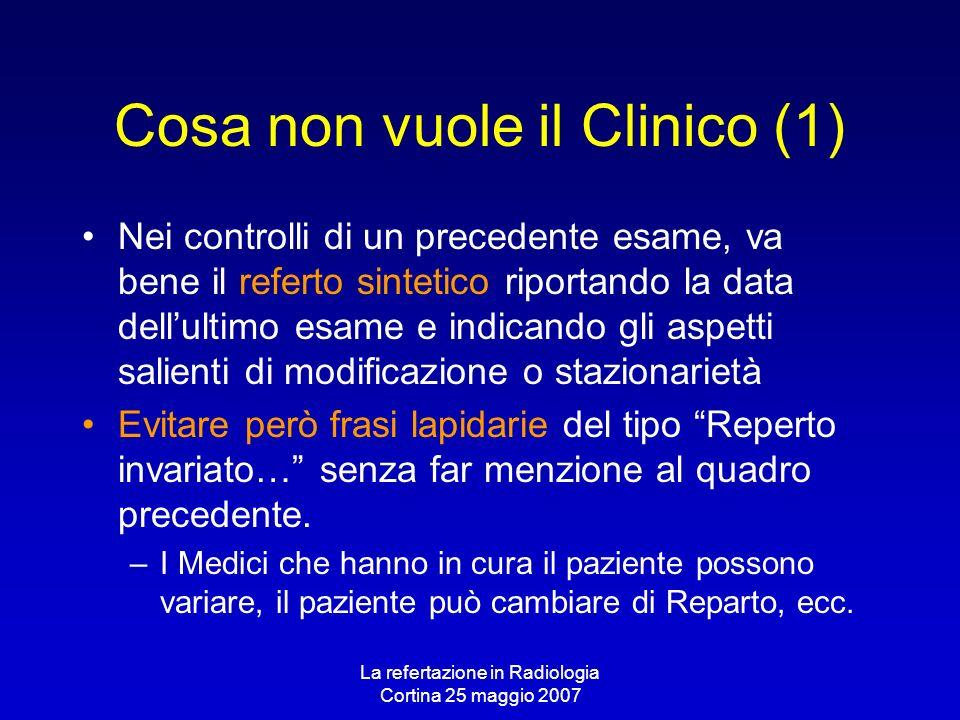 La refertazione in Radiologia Cortina 25 maggio 2007 Cosa non vuole il Clinico (1) Nei controlli di un precedente esame, va bene il referto sintetico