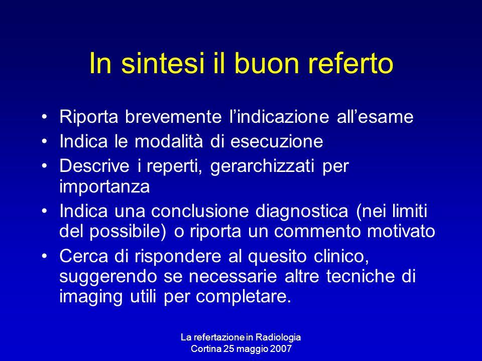 La refertazione in Radiologia Cortina 25 maggio 2007 In sintesi il buon referto Riporta brevemente lindicazione allesame Indica le modalità di esecuzi