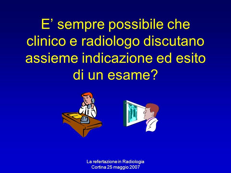 La refertazione in Radiologia Cortina 25 maggio 2007 E sempre possibile che clinico e radiologo discutano assieme indicazione ed esito di un esame?