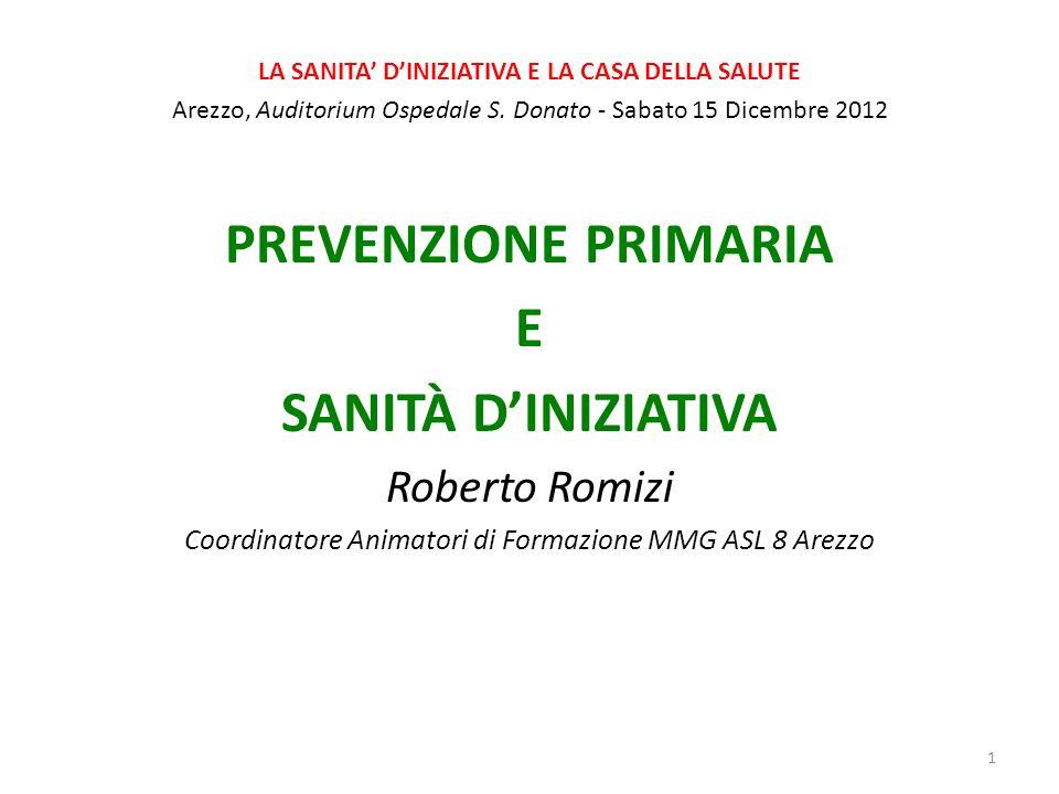 LA SANITA DINIZIATIVA E LA CASA DELLA SALUTE Arezzo, Auditorium Ospedale S.