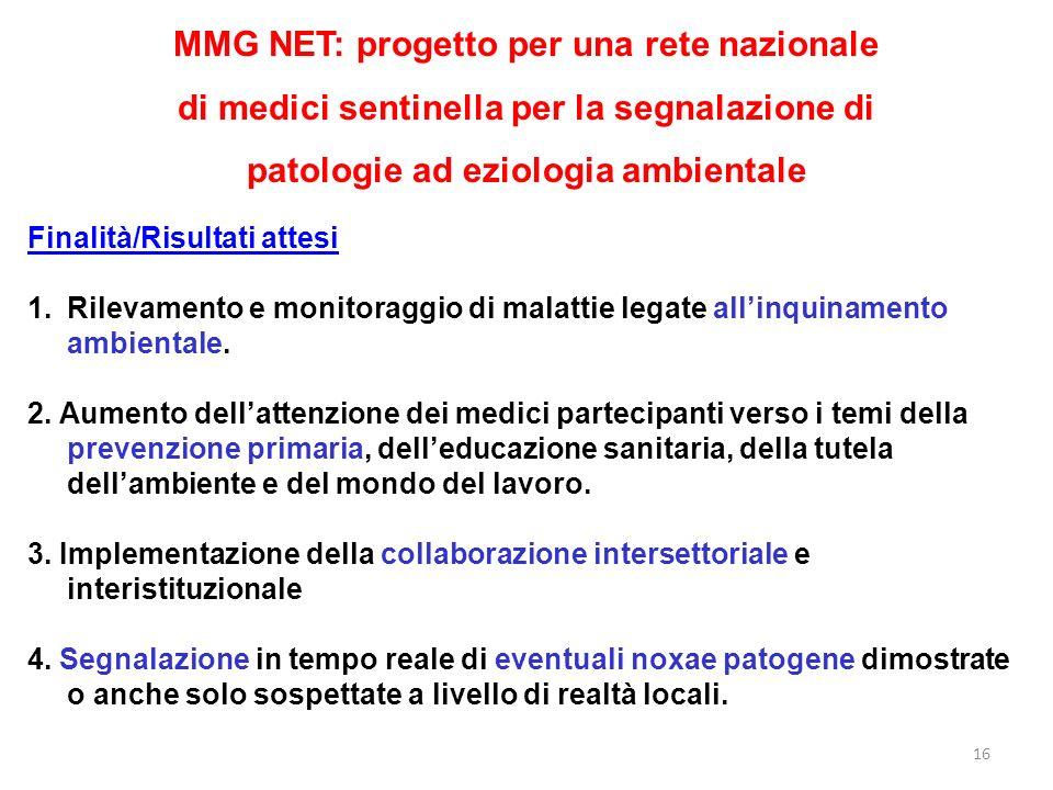 16 MMG NET: progetto per una rete nazionale di medici sentinella per la segnalazione di patologie ad eziologia ambientale Finalità/Risultati attesi 1.Rilevamento e monitoraggio di malattie legate allinquinamento ambientale.