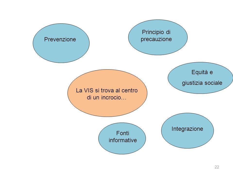 22 Prevenzione Principio di precauzione Equità e giustizia sociale Integrazione Fonti informative La VIS si trova al centro di un incrocio…