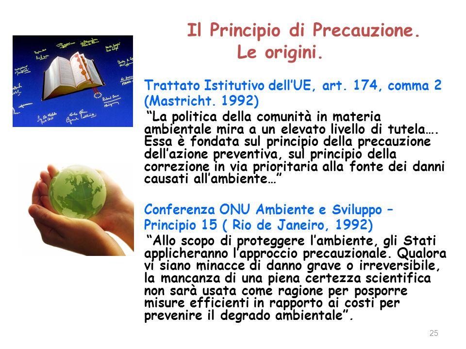 25 Il Principio di Precauzione. Le origini. Trattato Istitutivo dellUE, art.