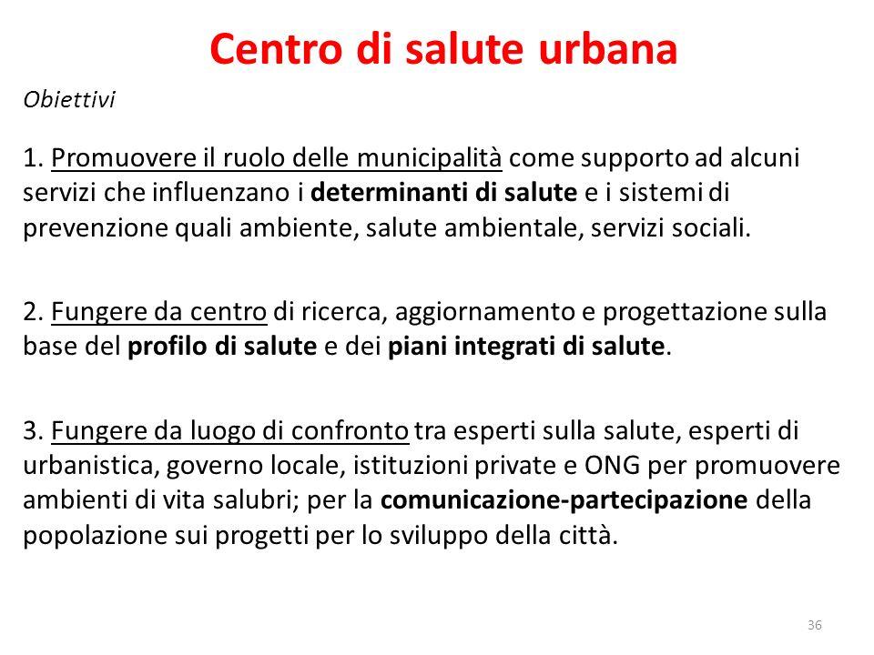 Centro di salute urbana Obiettivi 1.