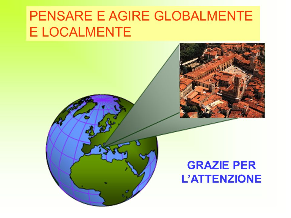 39 PENSARE E AGIRE GLOBALMENTE E LOCALMENTE GRAZIE PER LATTENZIONE
