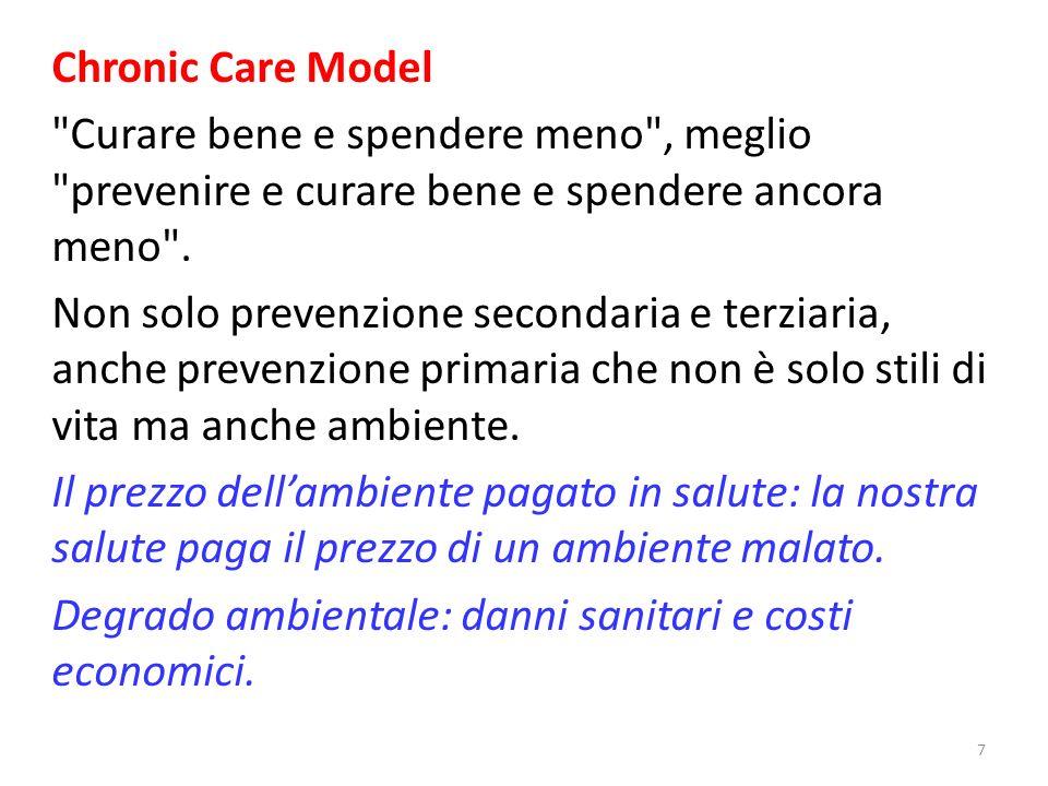 Chronic Care Model Curare bene e spendere meno , meglio prevenire e curare bene e spendere ancora meno .