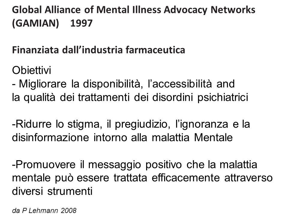Global Alliance of Mental Illness Advocacy Networks (GAMIAN) 1997 Finanziata dallindustria farmaceutica Obiettivi - Migliorare la disponibilità, laccessibilità and la qualità dei trattamenti dei disordini psichiatrici -Ridurre lo stigma, il pregiudizio, lignoranza e la disinformazione intorno alla malattia Mentale -Promuovere il messaggio positivo che la malattia mentale può essere trattata efficacemente attraverso diversi strumenti da P Lehmann 2008