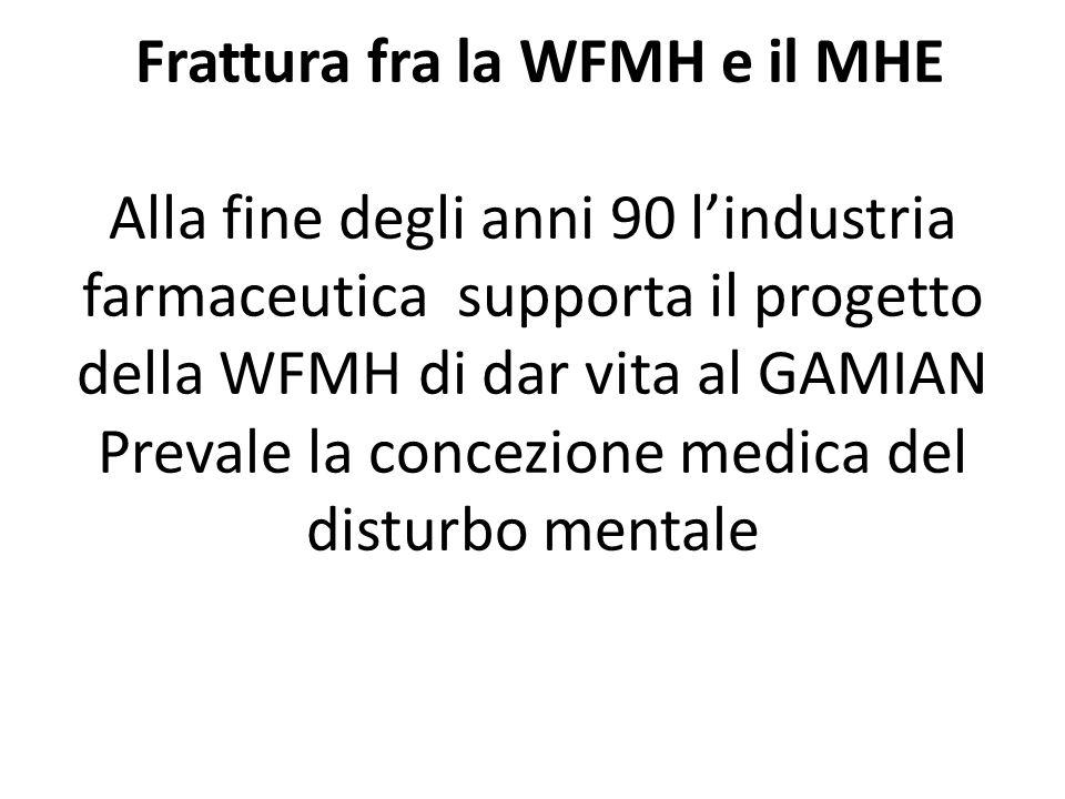 Frattura fra la WFMH e il MHE Alla fine degli anni 90 lindustria farmaceutica supporta il progetto della WFMH di dar vita al GAMIAN Prevale la concezione medica del disturbo mentale