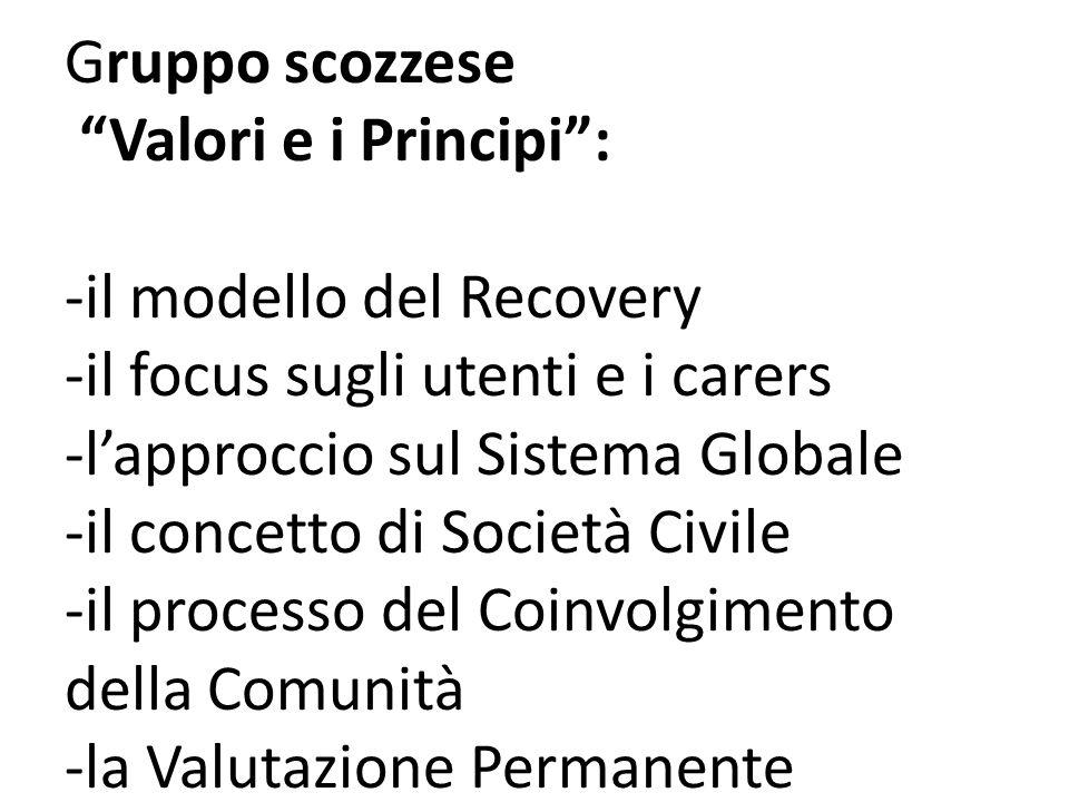 Gruppo scozzese Valori e i Principi: -il modello del Recovery -il focus sugli utenti e i carers -lapproccio sul Sistema Globale -il concetto di Società Civile -il processo del Coinvolgimento della Comunità -la Valutazione Permanente