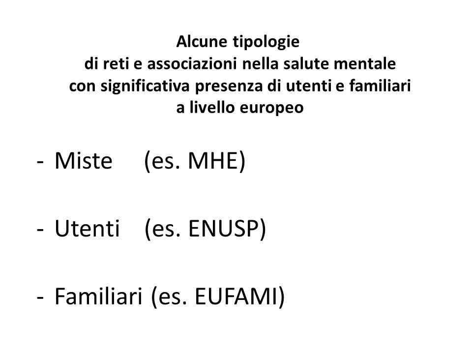 Alcune tipologie di reti e associazioni nella salute mentale con significativa presenza di utenti e familiari a livello europeo -Miste (es.
