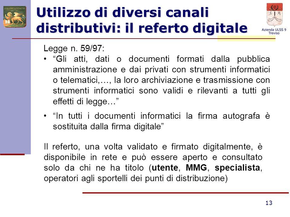 13 Utilizzo di diversi canali distributivi: il referto digitale Legge n. 59/97: Gli atti, dati o documenti formati dalla pubblica amministrazione e da