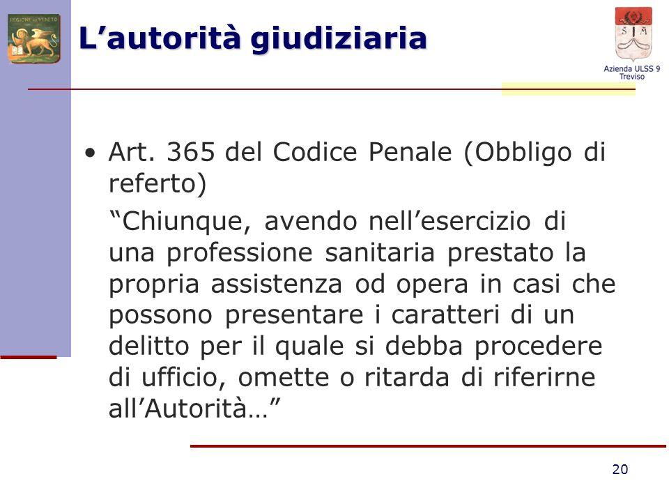20 Lautorità giudiziaria Art. 365 del Codice Penale (Obbligo di referto) Chiunque, avendo nellesercizio di una professione sanitaria prestato la propr