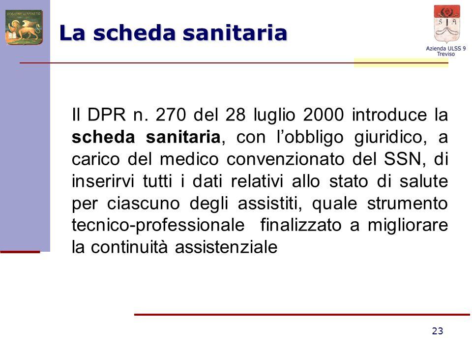 23 La scheda sanitaria Il DPR n. 270 del 28 luglio 2000 introduce la scheda sanitaria, con lobbligo giuridico, a carico del medico convenzionato del S