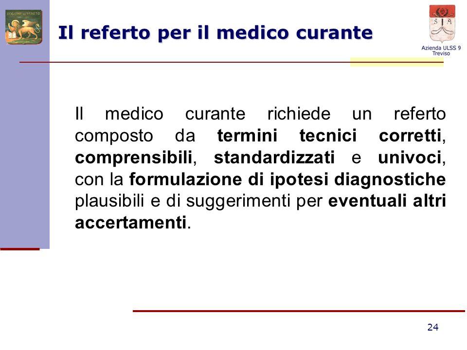 24 Il referto per il medico curante Il medico curante richiede un referto composto da termini tecnici corretti, comprensibili, standardizzati e univoc