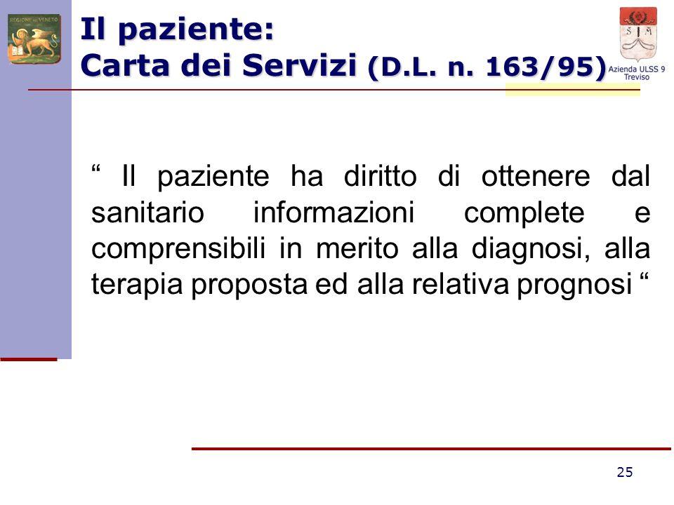 25 Il paziente: Carta dei Servizi (D.L. n. 163/95) Il paziente ha diritto di ottenere dal sanitario informazioni complete e comprensibili in merito al