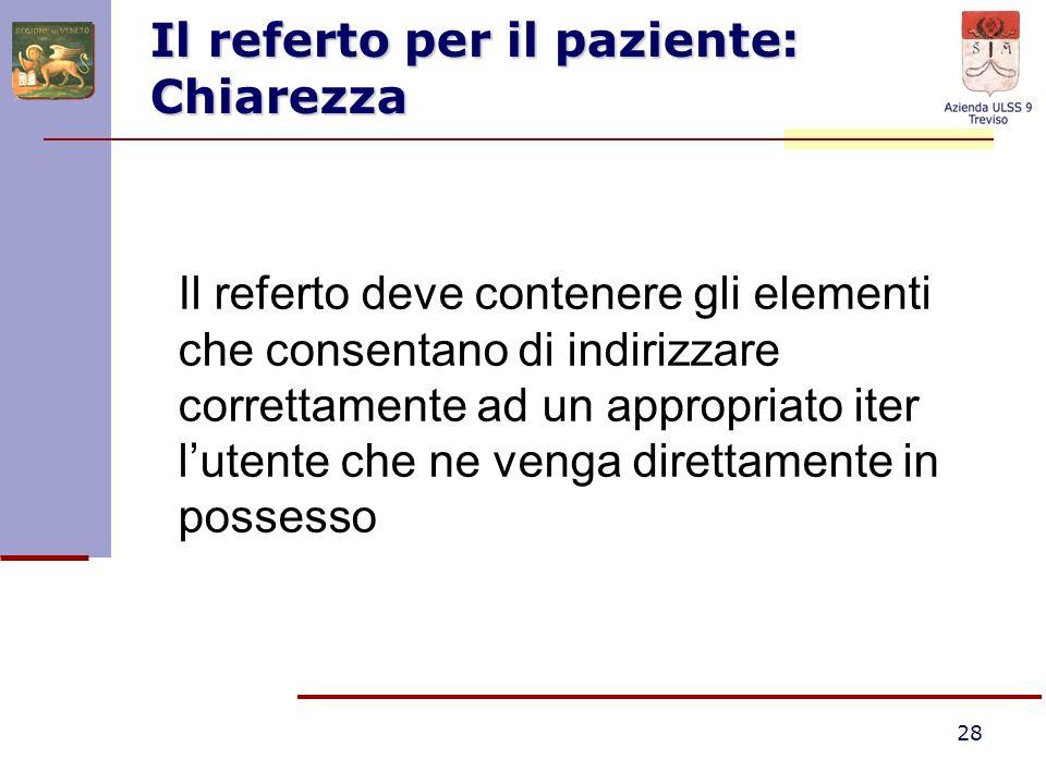 28 Il referto per il paziente: Chiarezza Il referto deve contenere gli elementi che consentano di indirizzare correttamente ad un appropriato iter lut