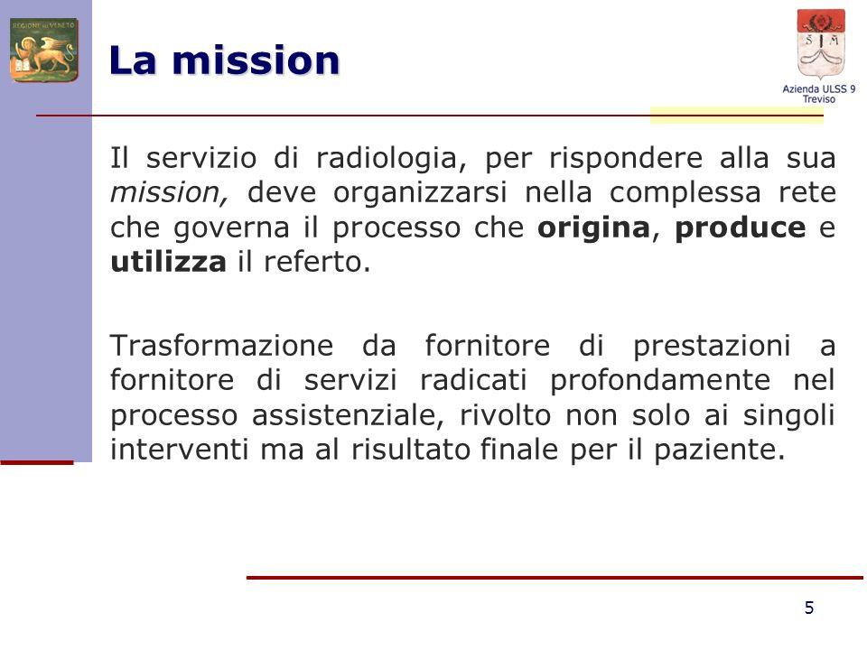 5 Il servizio di radiologia, per rispondere alla sua mission, deve organizzarsi nella complessa rete che governa il processo che origina, produce e ut