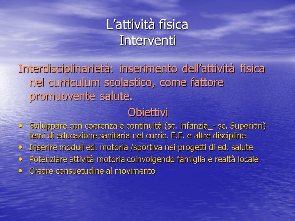 Lattività fisica Interventi Interdisciplinarietà: inserimento dellattività fisica nel curriculum scolastico, come fattore promuovente salute. Obiettiv