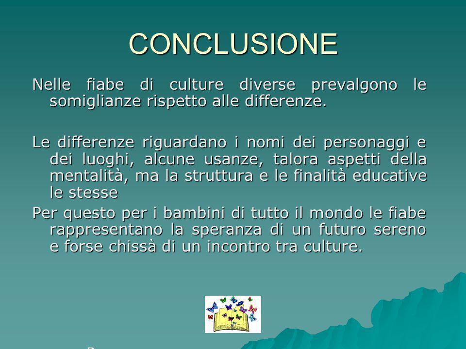 CONCLUSIONE Nelle fiabe di culture diverse prevalgono le somiglianze rispetto alle differenze. Le differenze riguardano i nomi dei personaggi e dei lu