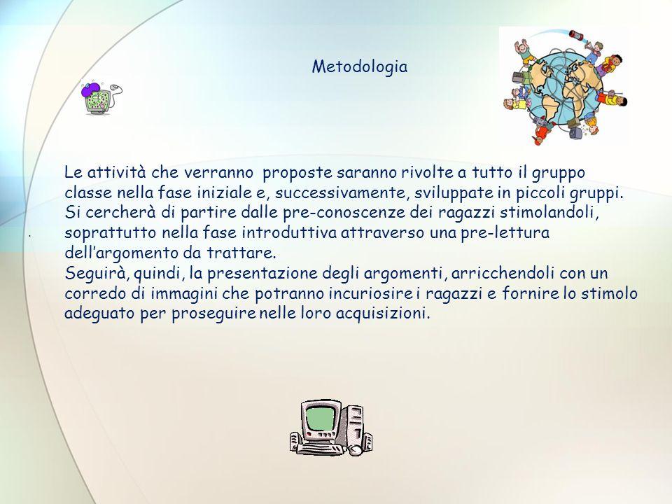 Metodologia Le attività che verranno proposte saranno rivolte a tutto il gruppo classe nella fase iniziale e, successivamente, sviluppate in piccoli g