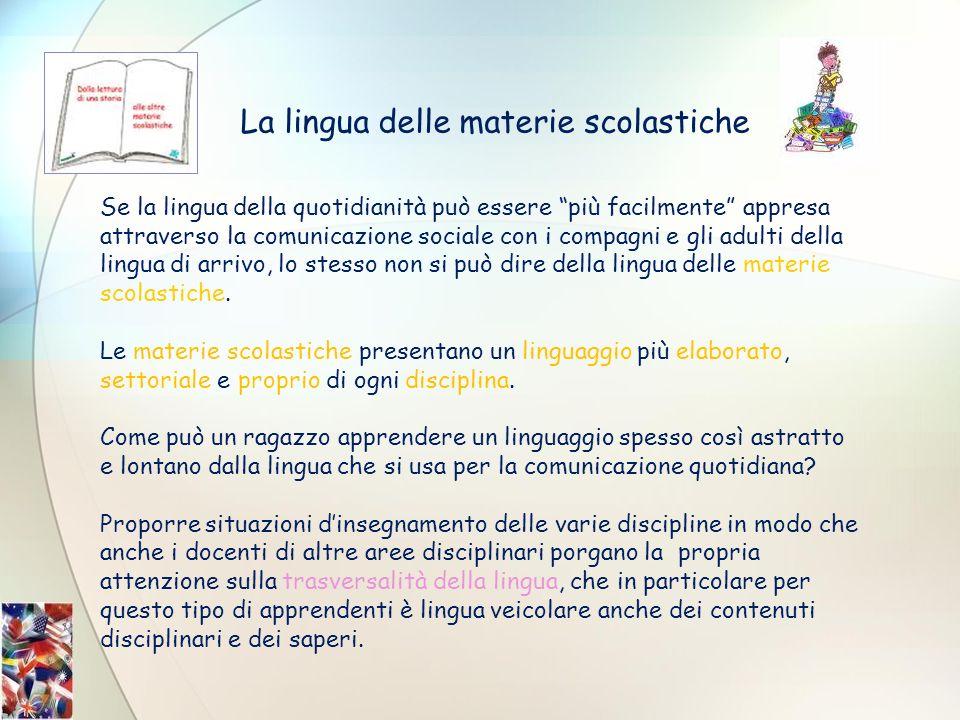 La lingua delle materie scolastiche Se la lingua della quotidianità può essere più facilmente appresa attraverso la comunicazione sociale con i compag