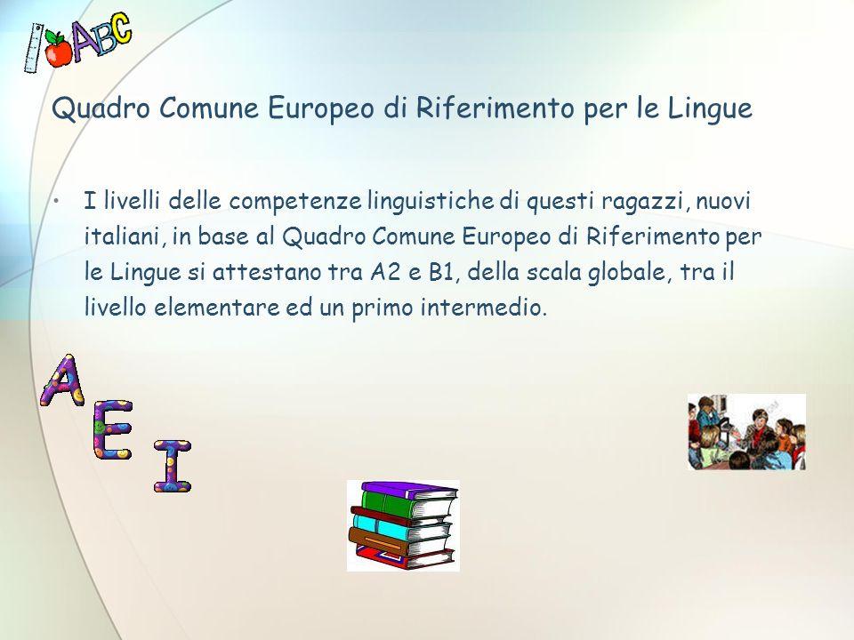 Quadro Comune Europeo di Riferimento per le Lingue I livelli delle competenze linguistiche di questi ragazzi, nuovi italiani, in base al Quadro Comune