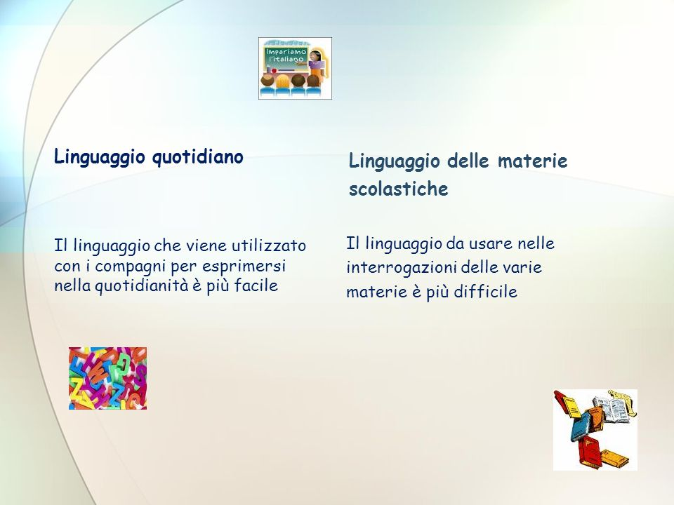 Linguaggio quotidiano Il linguaggio da usare nelle interrogazioni delle varie materie è più difficile Linguaggio delle materie scolastiche Il linguagg