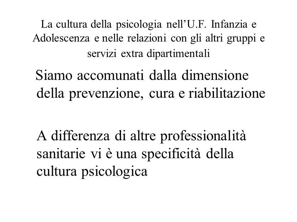 La cultura della psicologia nellU.F. Infanzia e Adolescenza e nelle relazioni con gli altri gruppi e servizi extra dipartimentali Siamo accomunati dal