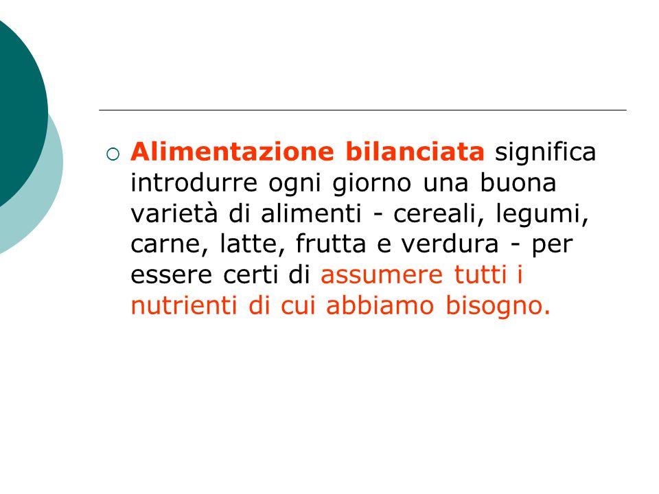Alimentazione bilanciata significa introdurre ogni giorno una buona varietà di alimenti - cereali, legumi, carne, latte, frutta e verdura - per essere