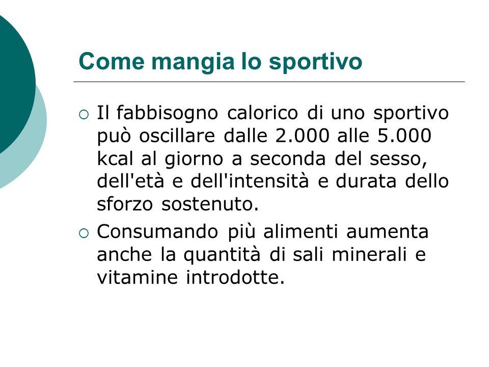 Come mangia lo sportivo Il fabbisogno calorico di uno sportivo può oscillare dalle 2.000 alle 5.000 kcal al giorno a seconda del sesso, dell'età e del