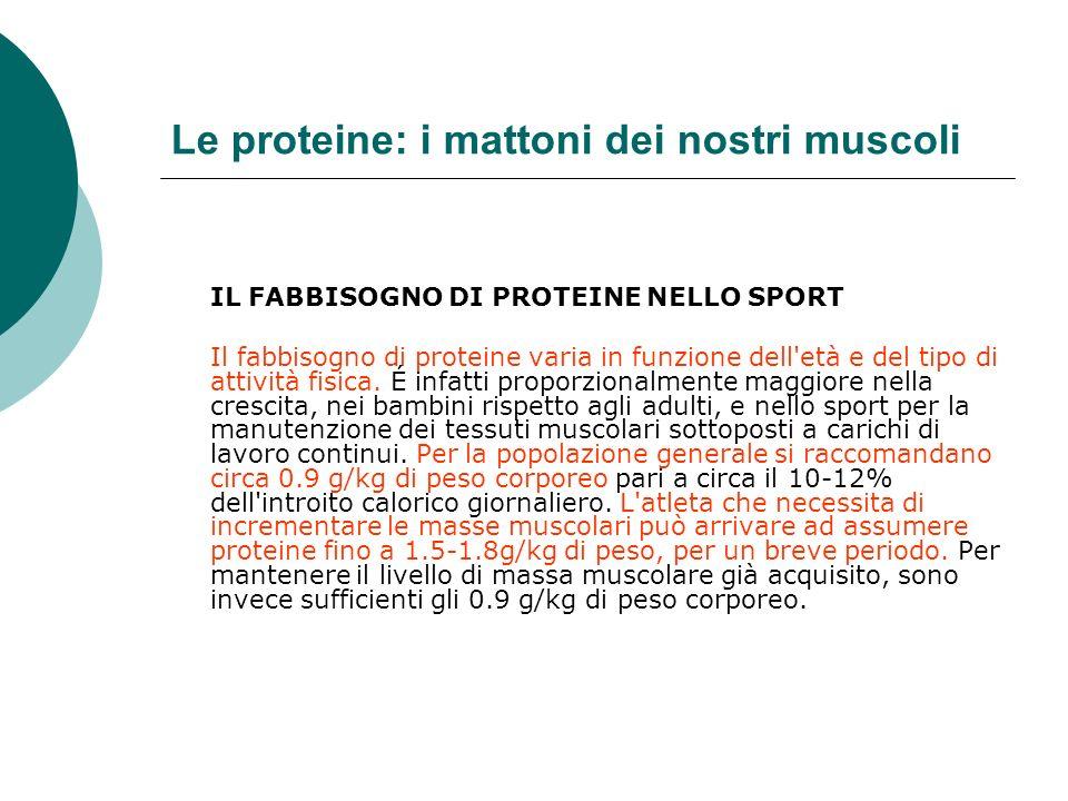 Le proteine: i mattoni dei nostri muscoli IL FABBISOGNO DI PROTEINE NELLO SPORT Il fabbisogno di proteine varia in funzione dell'età e del tipo di att